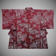 SALE: Burgundy Silk Kimono with Silver Garden Pattern c1900.