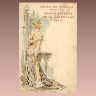 Art Nouveau Antique 'Palais du Costume' series Middle Ages Postcard c1900.