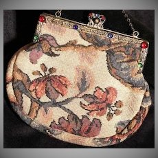 Edwardian Era French Tapestry Evening Bag with Colored Cabochon & Brass Frame