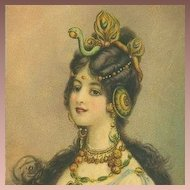 Art Nouveau English 'Snake Woman' Art Postcard c1900