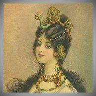 SALE: Art Nouveau English 'Snake Woman' Postcard c1900
