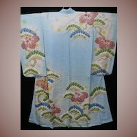 Blue & Gold Embroidered Antique Silk Furisode Kimono with Hand Painted Details.  c1900