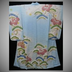 SALE: Blue & Gold Embroidered Antique Silk Furisode Kimono with Hand Painted Details. Breathtaking! Meiji era