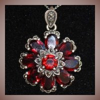 SALE: Sterling Garnet and Marcasite Flower Pendant Nouveau Revival