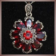 SALE: Sterling Garnet and Marcasite Flower Pendant Nouveau Revival