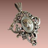 SALE: French Filigree Cameo Pendant..Victorian