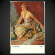 Antique Artist 'Salambo with Snake' Postcard c1910