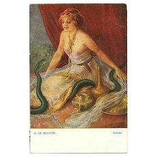 Antique Artist 'Salambo with Snake' Postcard c1910