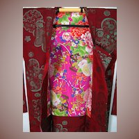 Art Deco Burgundy Silk Haori Kimono with Stunning Floral Lining c1930