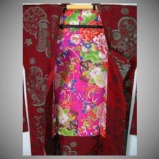 SALE: Burgundy Silk Haori Kimono with Stunning Floral Lining c1930 Art Deco era