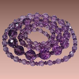 SALE: Amethyst Crystal Bead Flapper Necklace Art Deco