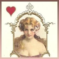 Antique Embossed Silk French Postcard 'Lady with Red Hearts' c1900