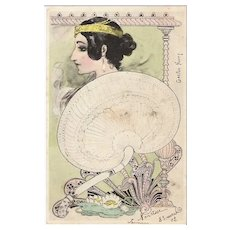 Art Nouveau French Signed 'Water Lily Woman with Fan' Postcard 1902..Gaston Noury
