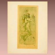 SALE: Original French Lithograph 'Dance' Lithograph L'Estampe Moderne 1897. Art Nouveau era Signed.
