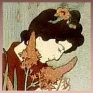 Original Signed French Engraving 'Japanese Maiden with Pearls'  c1894.