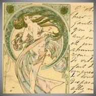 Mucha Original Signed French Postcard 'La Danse' 1899
