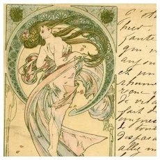 Mucha Original Signed French Postcard 'La Danse' 1899