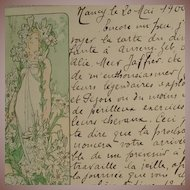 Mucha 'Le Lys' Original Signed French Postcard 1900