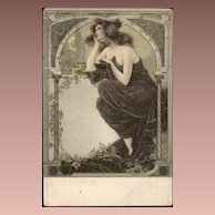 SALE: Art Nouveau 'Beautiful Woman Moon Gazing' Postcard 1906