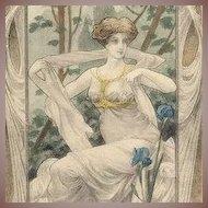 Art Nouveau Vienne Signed  'Lovely Woman with Irises' c1900