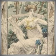 Art Nouveau Vienne Signed  'Lovely Woman with Irises' c1900
