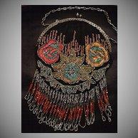 SALE: Beaded Fringed Evening Purse..Art Deco Embroidered Black Silk Designer Book Piece