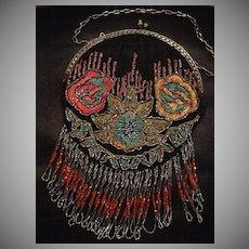 SALE: Black  Silk Embroidered Beaded Fringed Round Evening Bag..Art Deco Designer Book Piece