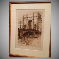Original Signed Mielatz Etching 'Venice 1492' 1893.