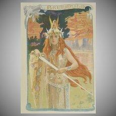 SALE:Antique Original French Lithograph 'Brunnhild' L'Estampe Moderne series 1898.
