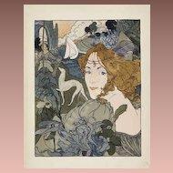 SALE:Antique Art Nouveau French Lithograph 'Retour' L'Estampe Moderne series 1897.