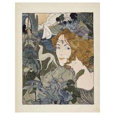 SALE: French Lithograph 'Retour' L'Estampe Moderne series 1897. Rare Art Nouveau