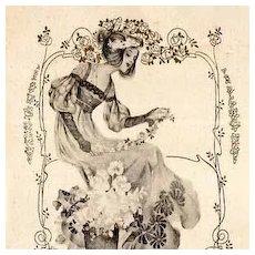 Art Nouveau Vienne Flower Maiden Postcard c1900