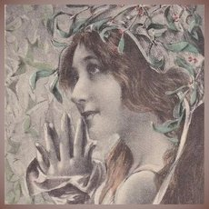 'Maiden with Mistletoe' French Artist Postcard 1900 Art Nouveau era.