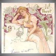 French Art Nouveau 'Poppy' Postcard 1907