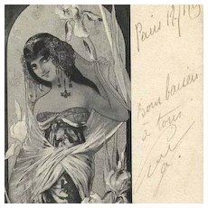 SALE Rare Golay Signed French 'Iris' Postcard 1905.
