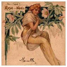 Art Nouveau French Lithographic 'Rose de Noel' Postcard 1904.