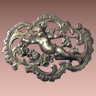 SALE: Continental Art Nouveau Cherub Brooch Pin