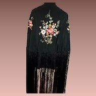 SALE: Black Silk Piano Shawl with Floral Embroidery and Very Long Fringe c1890. Art Nouveau era.
