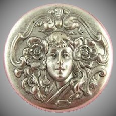 Girl with Poppies in her Hair French art Noiuveau Medallion.