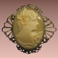 SALE: Carved Shell Cameo Pendant Brooch in Canetille (Wire Work) frame. c1900 Victorian.