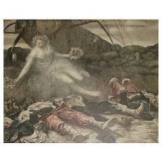 Signed French Lithograph by Flameng 'Hommage Aux Heros' 1915. Numbered Limited Edition. - Red Tag Sale Item