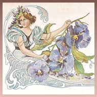 Exquisite Art Nouveau 'Pansy Flower Lady'  French Postcard c1900.