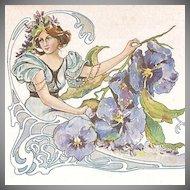 Exquisite Art Nouveau 'Pansy Flower Lady'  French Postcard c1900.