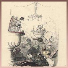 SALE: Original French Color Engraving 'Angels and Demons' by JJ Grandville 1844. Rare.