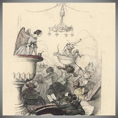 Grandville Color Engraving Angels and Demons 1844. Rare French Original.