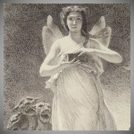 Original French Etching 'Psyche in the Underworld' c1860.