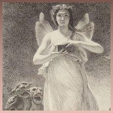 Original French Etching 'Psyche in the Underworld' c1860.
