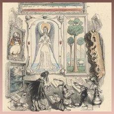 Original French Color Engraving 'Le Louvre des Marionettes' by JJ Grandville 1844. Extremely Rare.