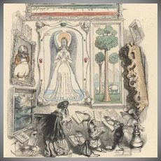Grandville Color Engraving Le Louvre des Marionettes 1844. Extremely Rare French Original.