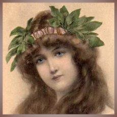 Art Nouveau French Lithographic 'Lady with Laurel Wreath' Postcard 1906.